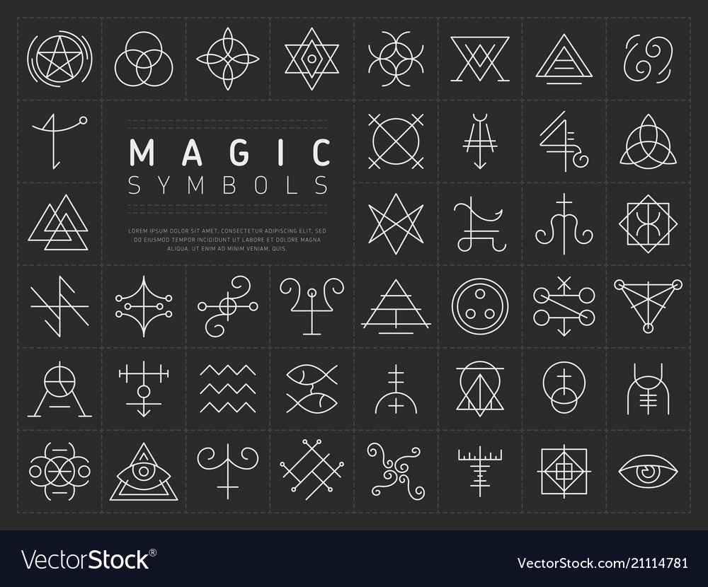 Set Of Icons For Magic Symbols Royalty Free Vector Image