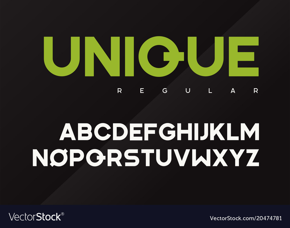 Unique bold industrial typeface design