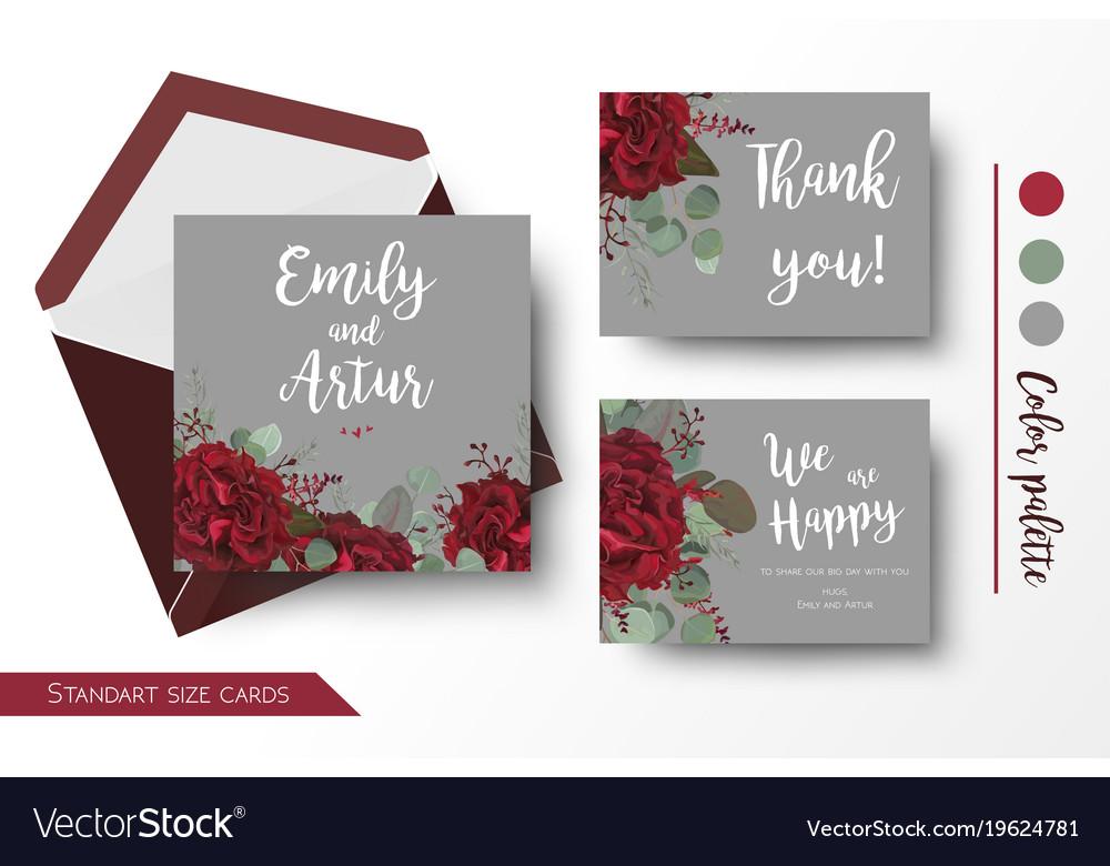 Wedding Invite Invitation Thank You Card Design Vector Image