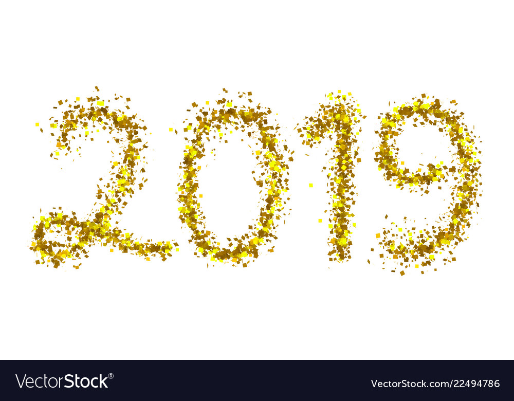 2019 golden particle text isolated on white
