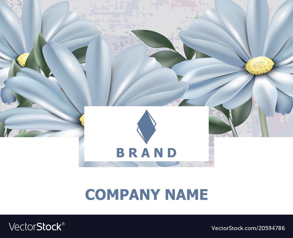 Business Card Brand Book Vintage Spring Flowers Vector Image