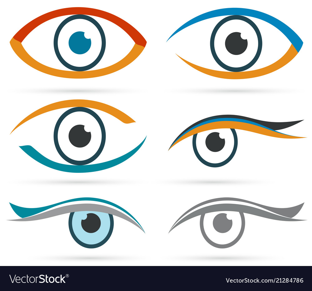 Colorful icons eye set for design