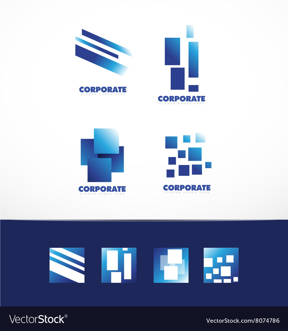 Corporate business abstract square logo set