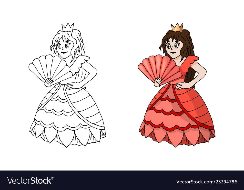 Cute cartoon princess standing in pink coral dress