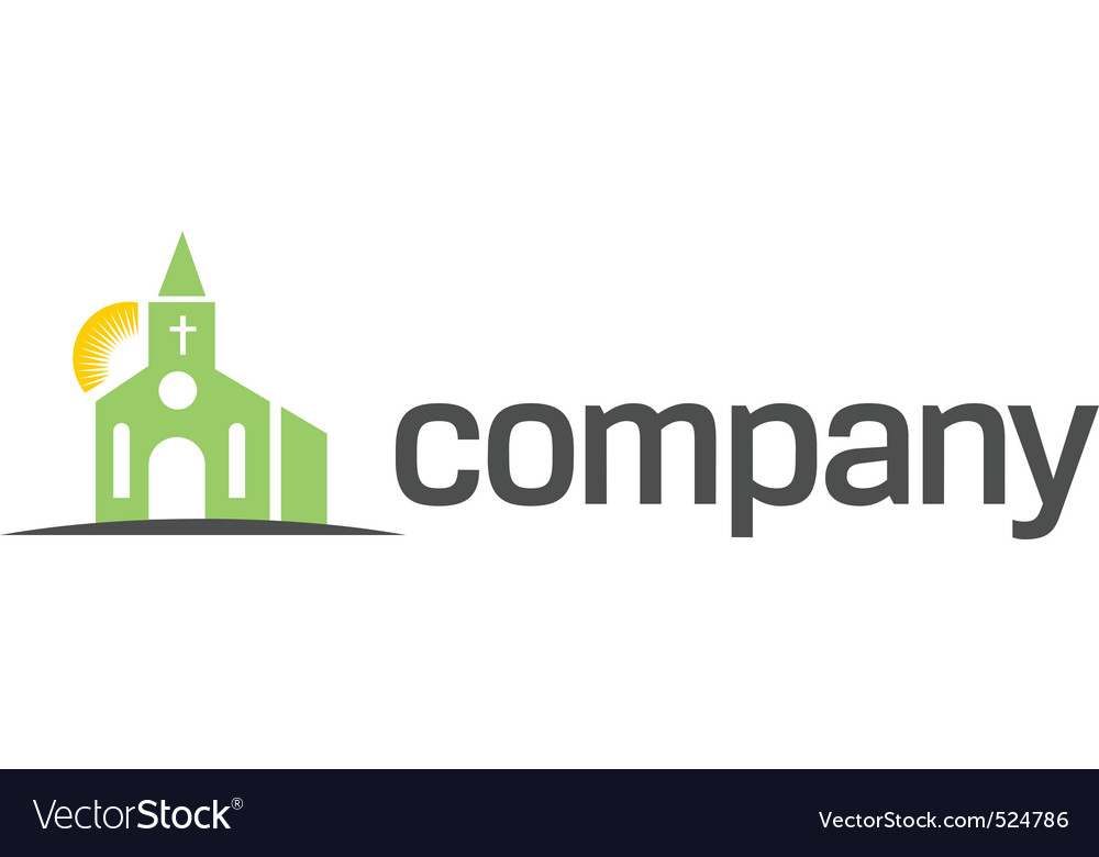Green church with sun logo vector image