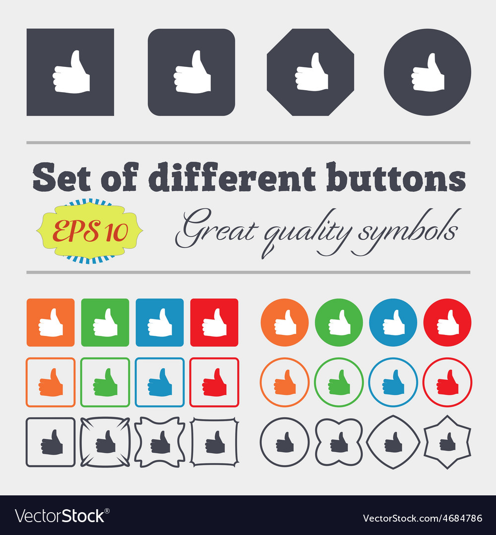 Like Thumb up icon sign Big set of colorful