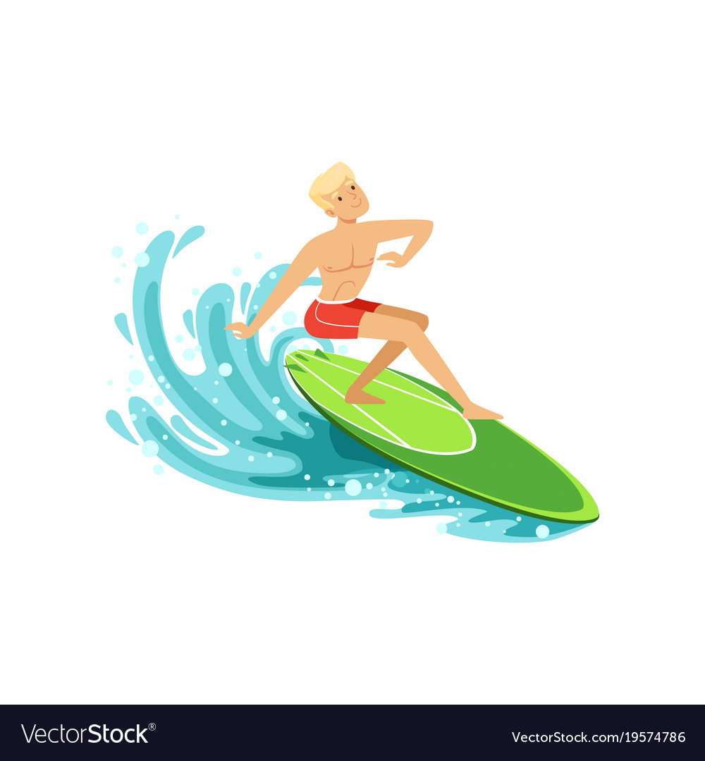Male surfer riding a wave water extreme sport