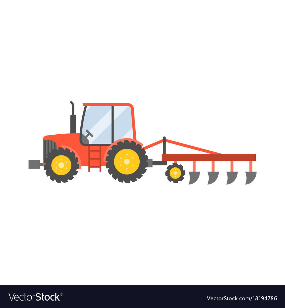 Red tractor with plow for planting crops icon