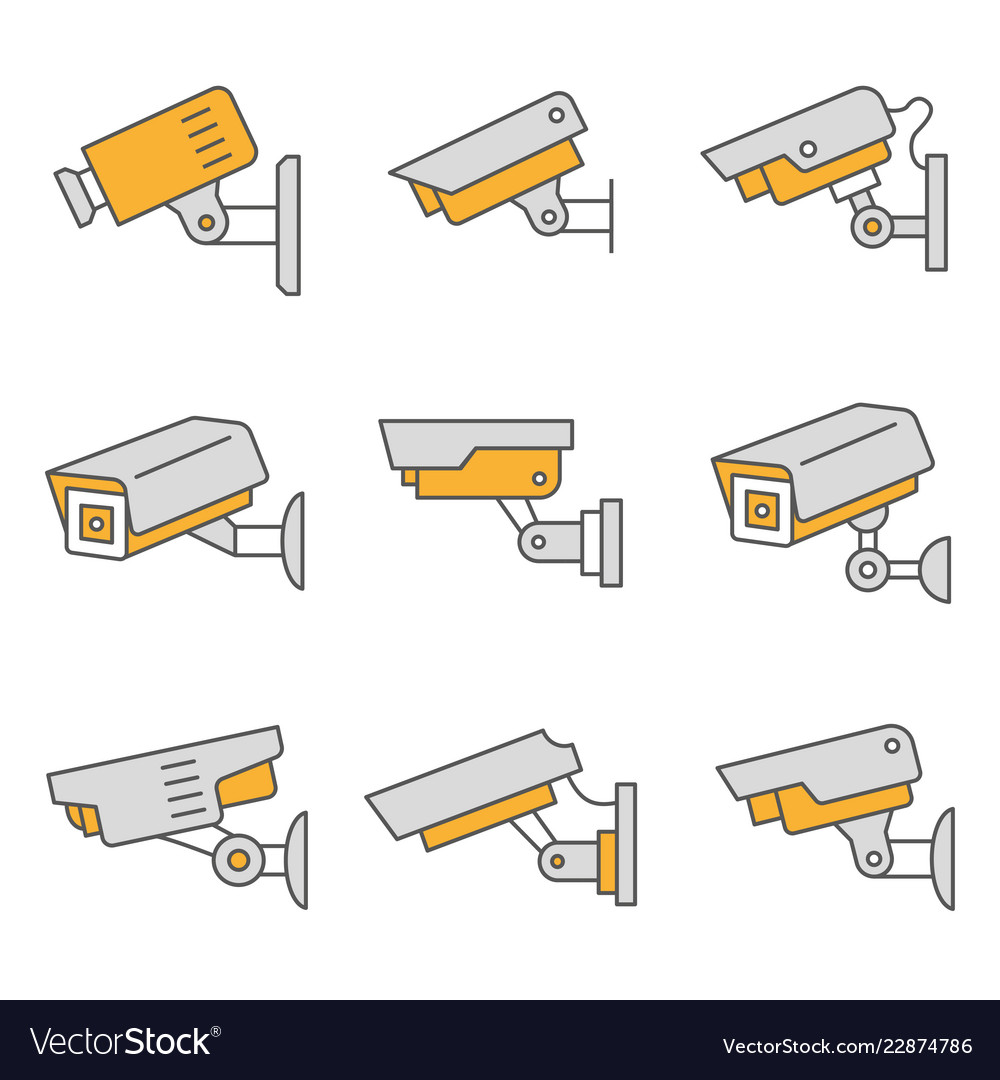 Security camera flat line icon set