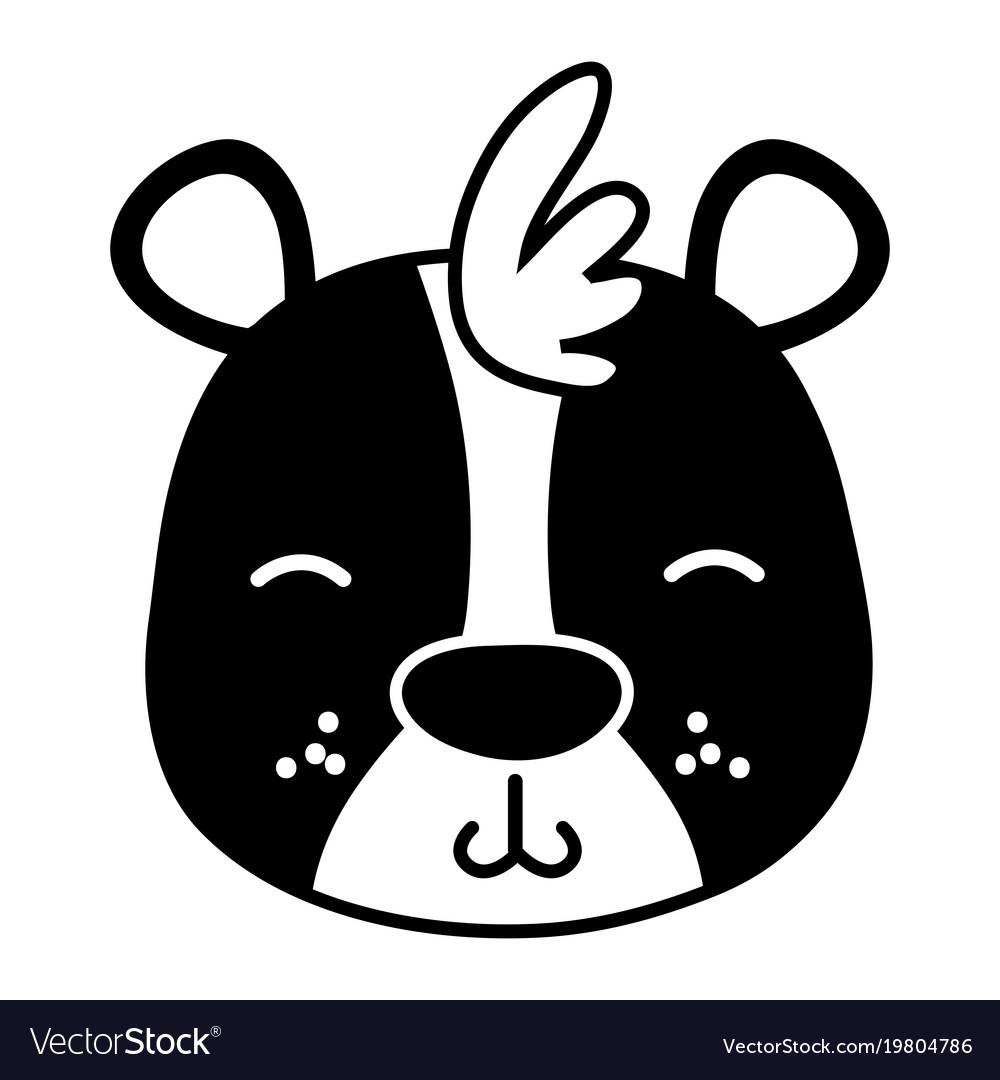 Silhouette tender bear head wild animal vector image