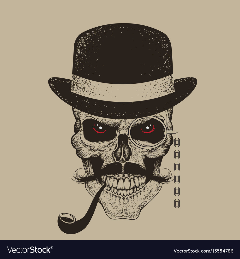 Skull-gentleman dressed in hat smoking cigar