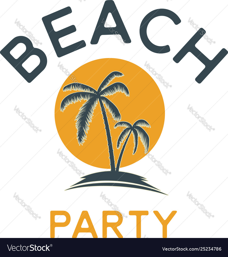 Summer emblem with palms design element for logo