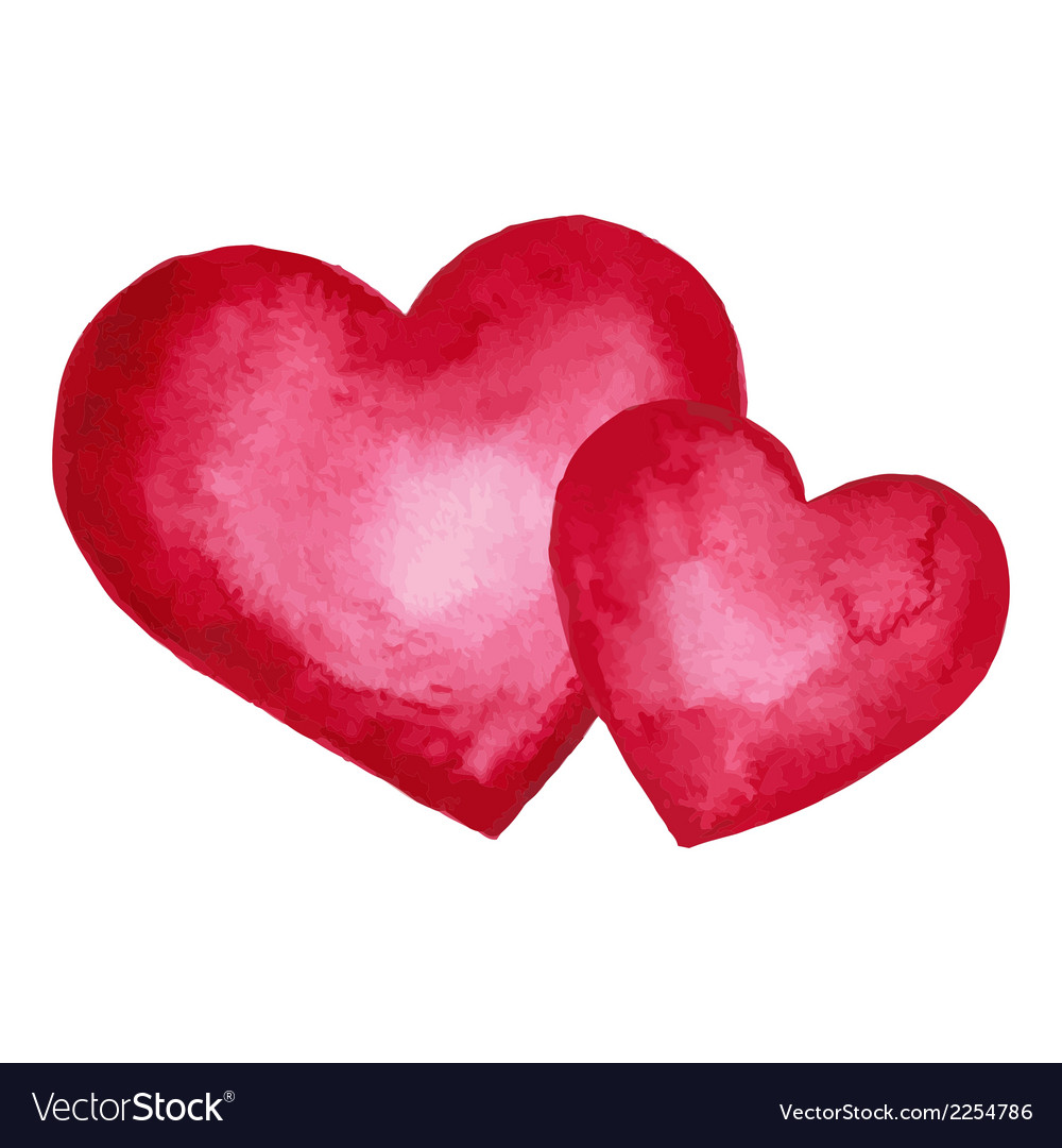 Watercolor heart design element