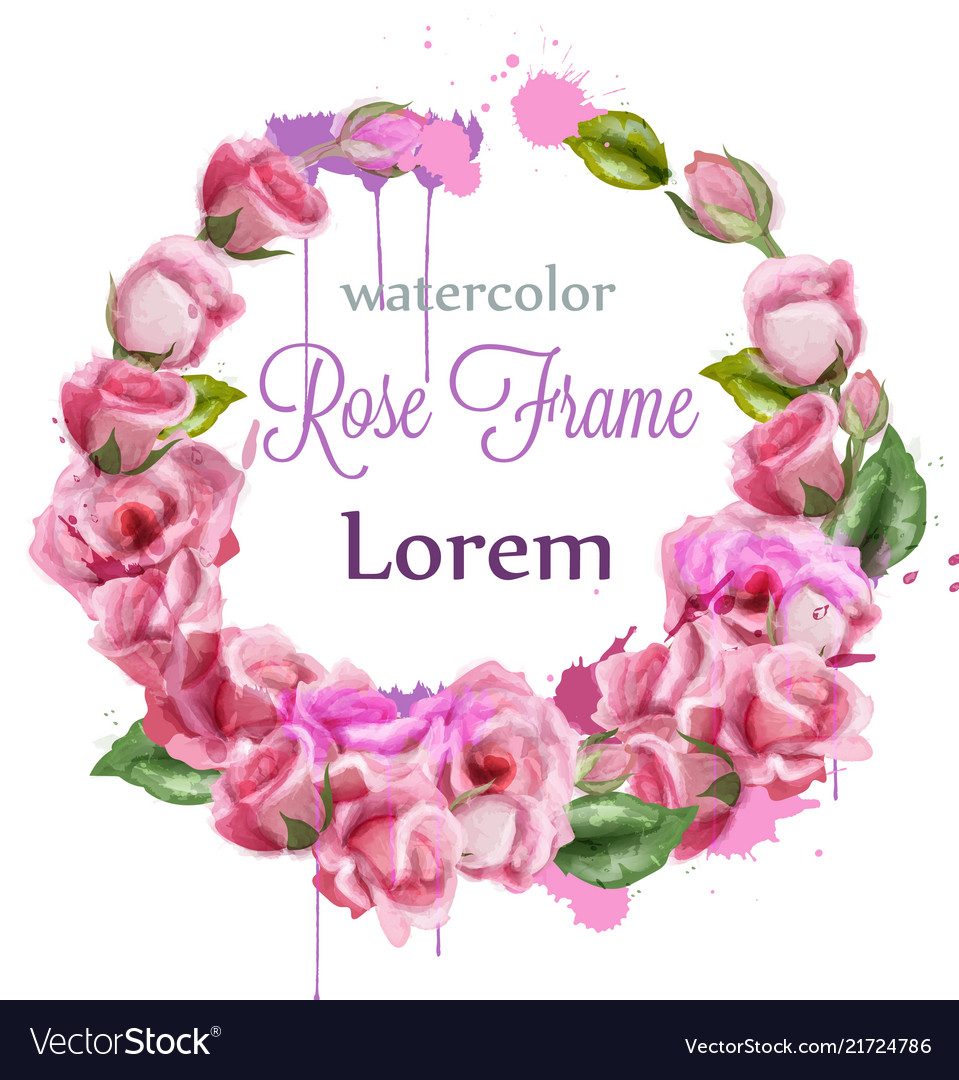 Watercolor rose wreath decoration round