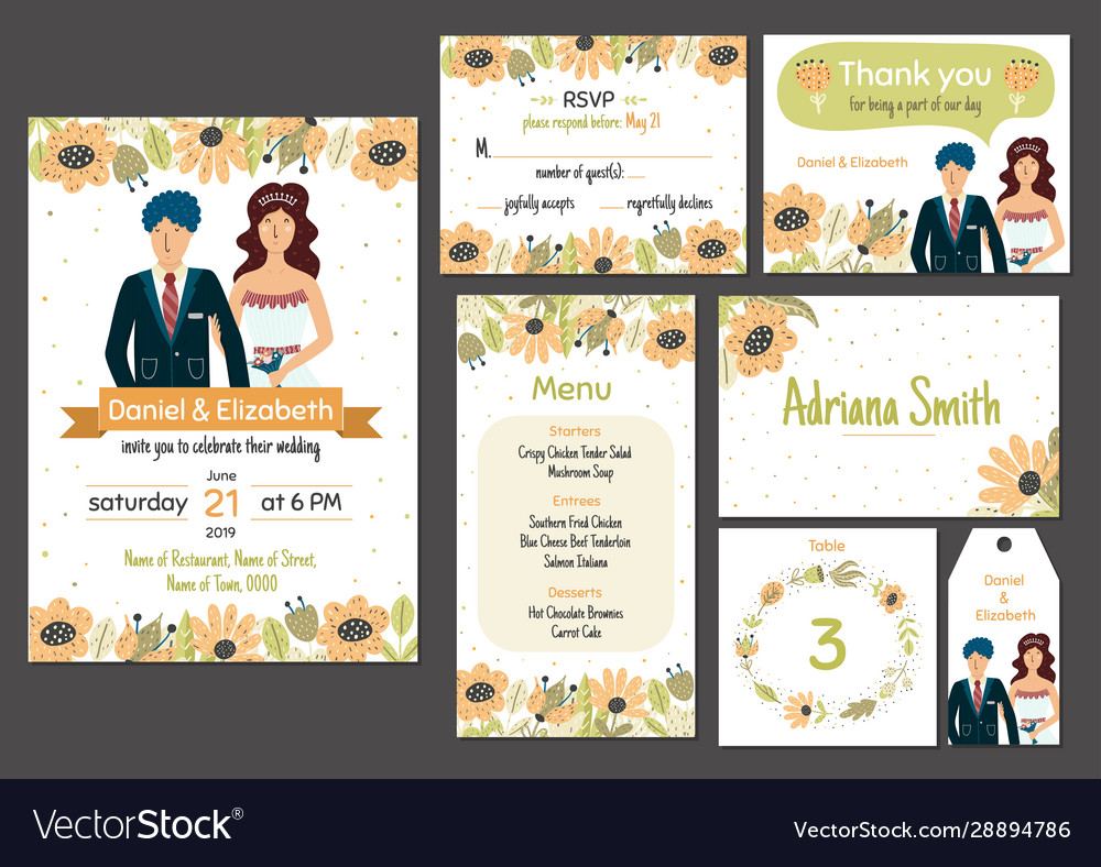 Wedding invitation template set with adorable