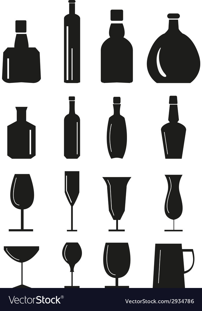 Wine glass and bottle Icons set