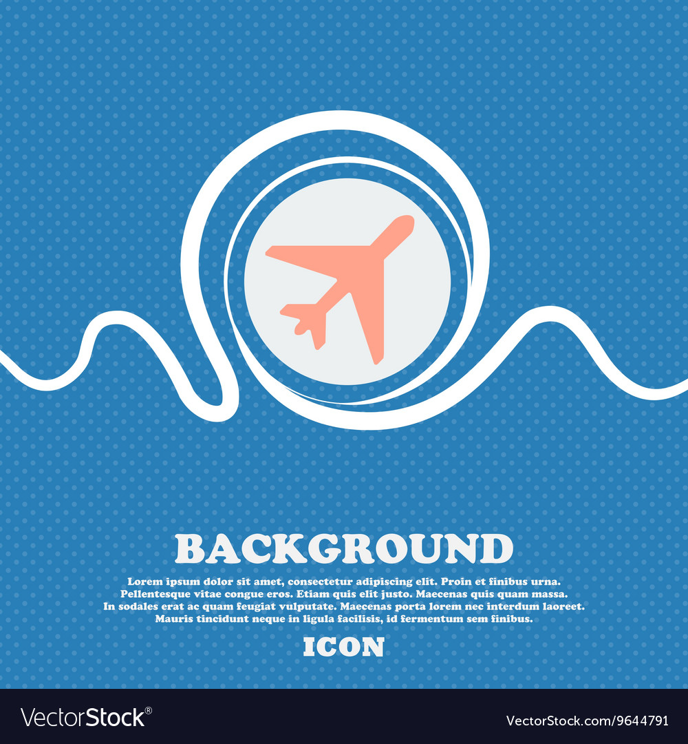 Airplane sign icon Blue and white abstract