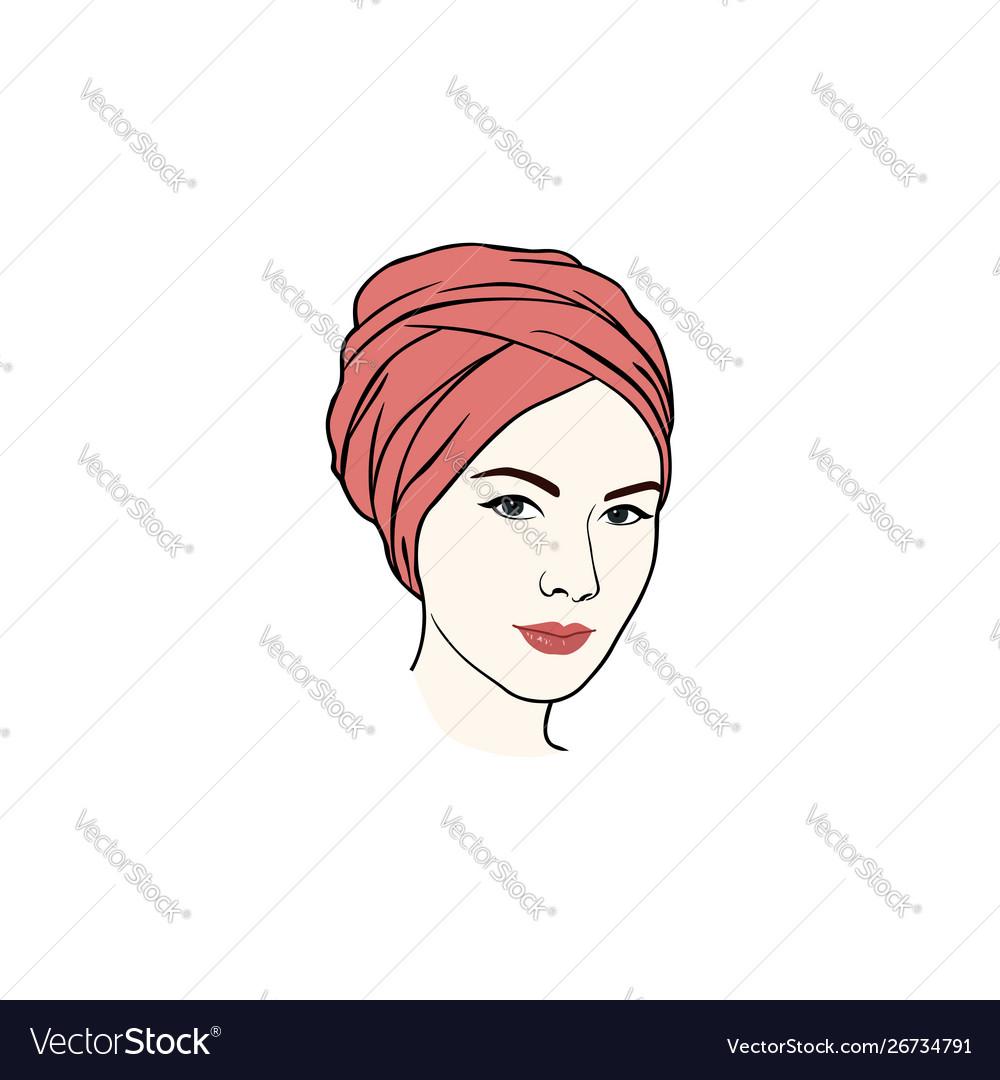 Beautiful Turban Girl Hairstyle Moslem Hijab Girl Vector Image