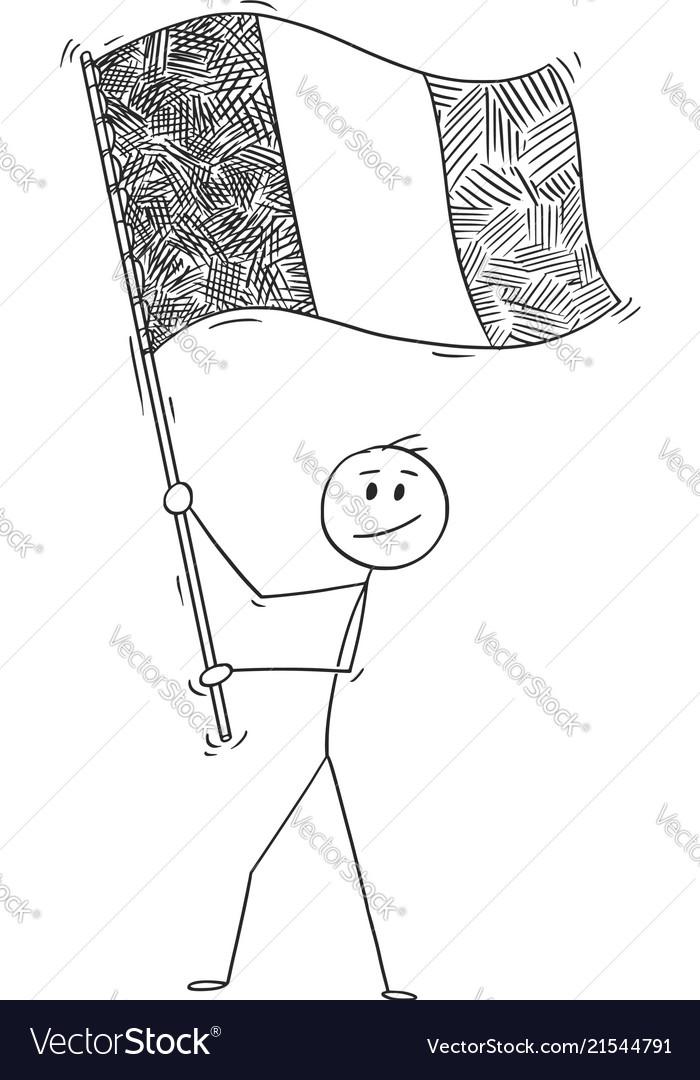 Cartoon of man waving the flag of republic