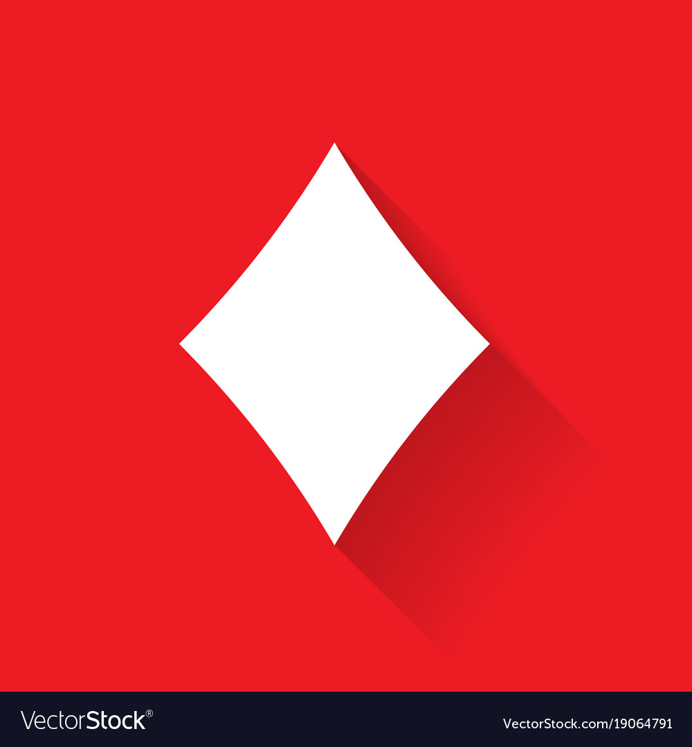 Diamond poker suit symbol white sign on red vector image
