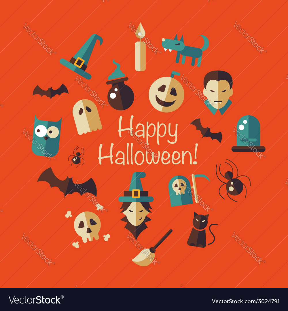 Flat design Halloween composition vector image