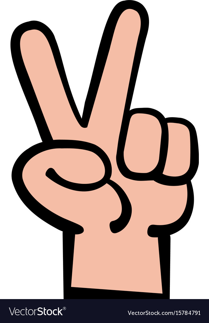 Hand Peace Sign Cartoon Vector Image On Vectorstock
