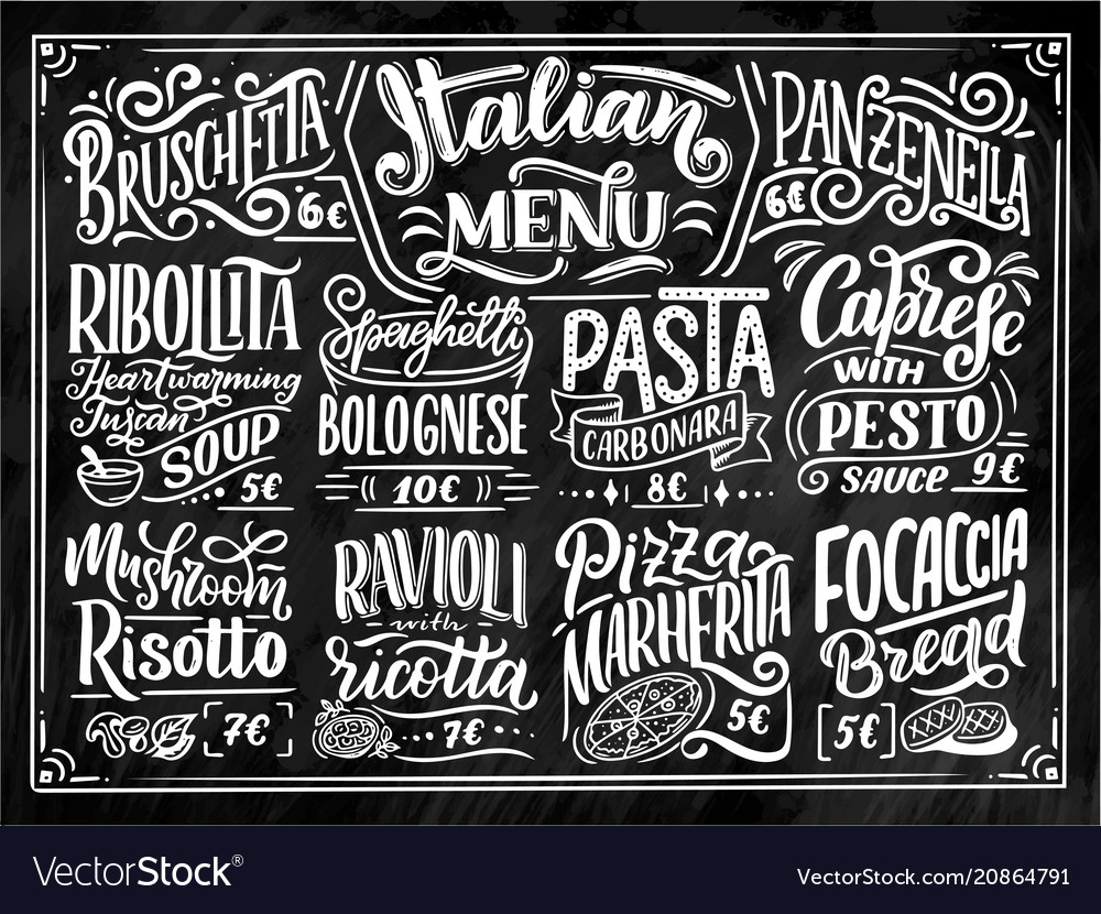 Italian food menu - names of dishes lettering vector image