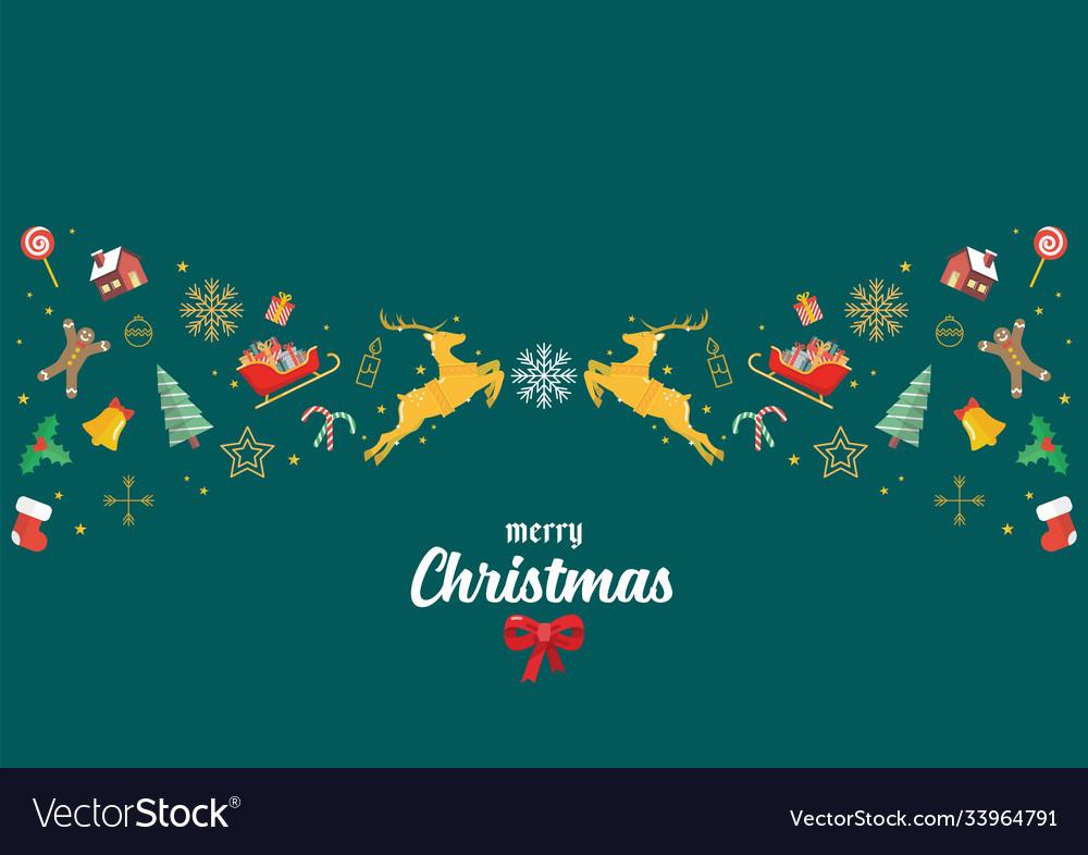 Merry christmas glass ball with santa sleigh