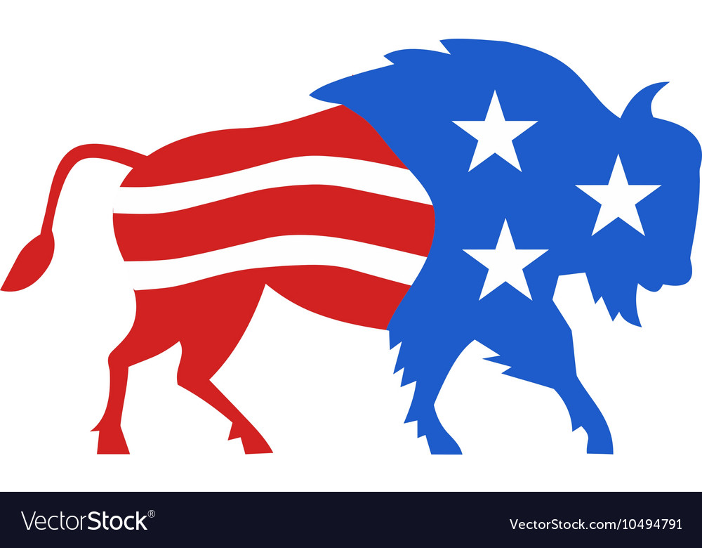 North American Bison USA Flag Retro vector image
