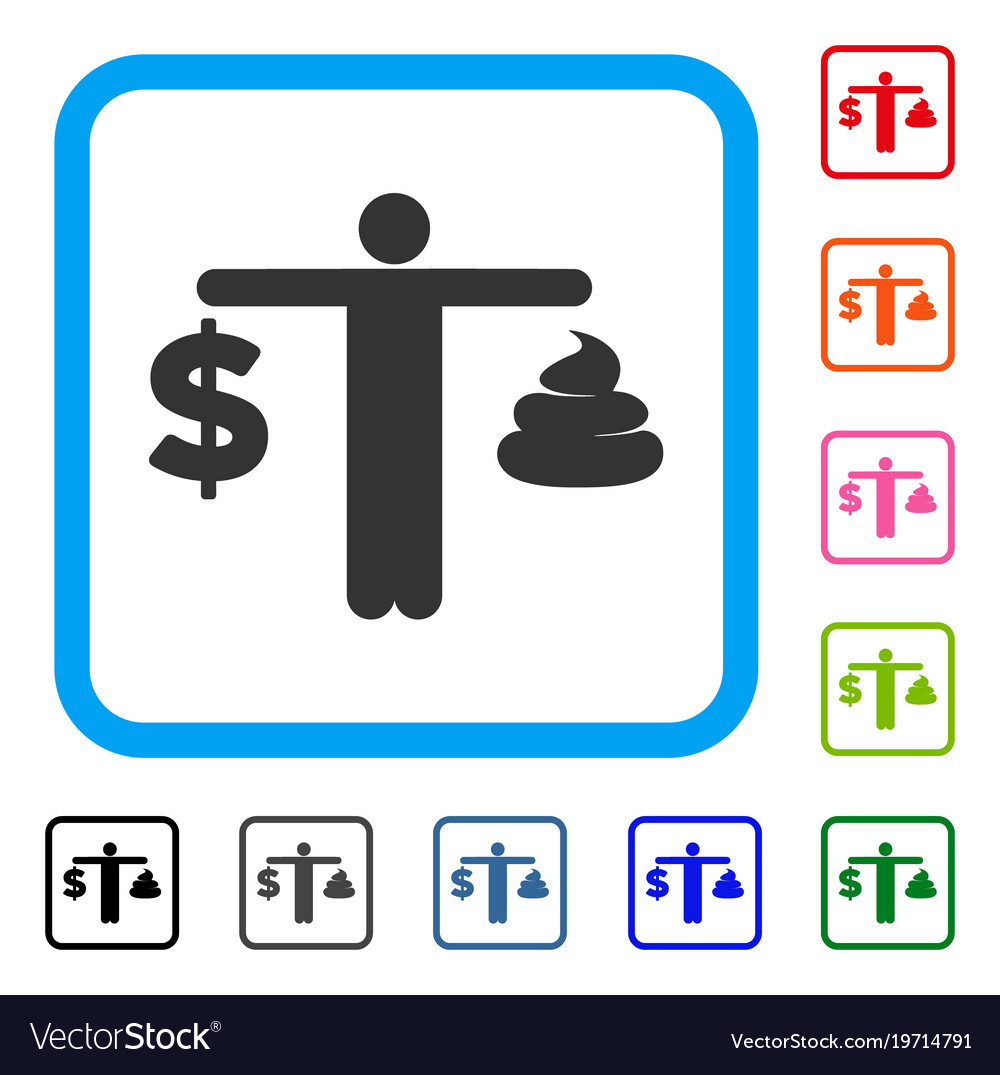 Person Compare Dollar Framed Icon Vector Image