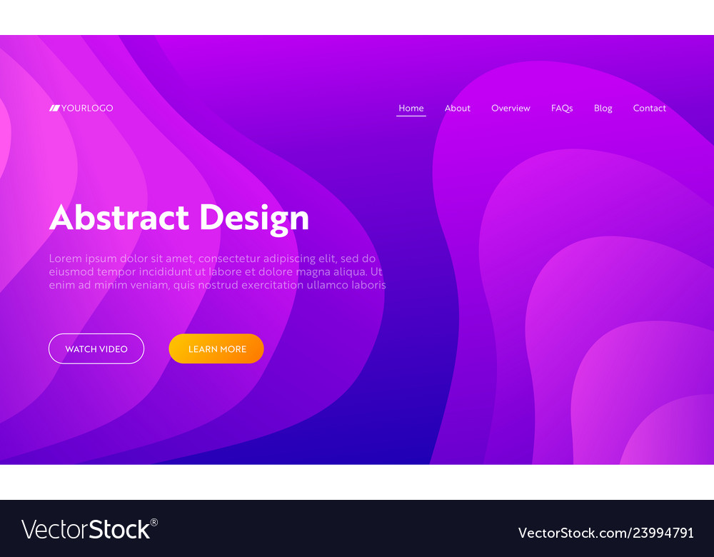 Purple abstract wave shape landing page