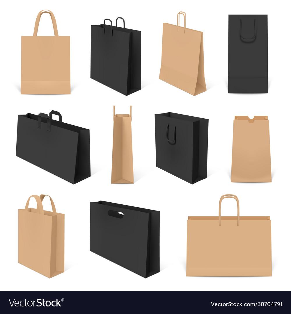 Realistic shopping bags paper 3d bag mockup