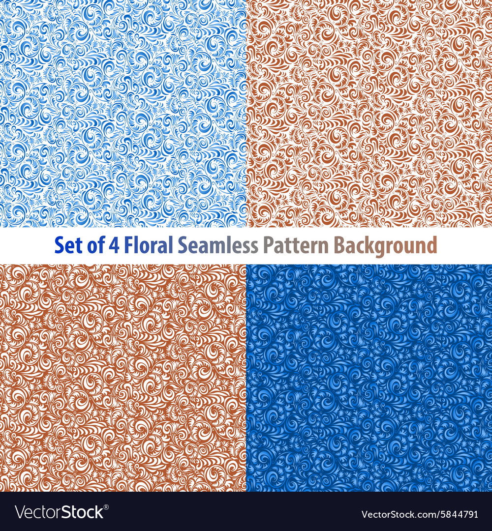 Set Floral Backgrounds Gorgeous seamless floral
