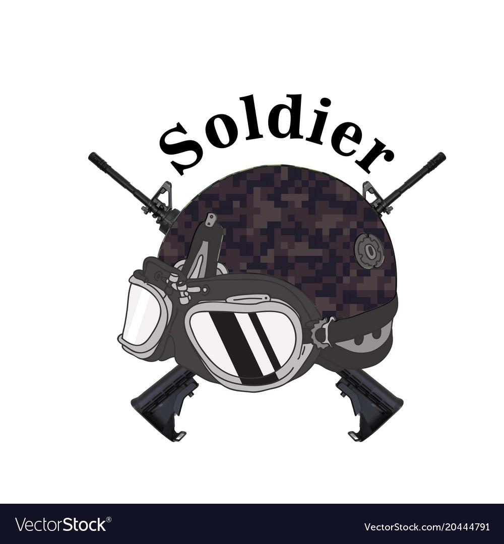 Soldier text soldier helmet gun background