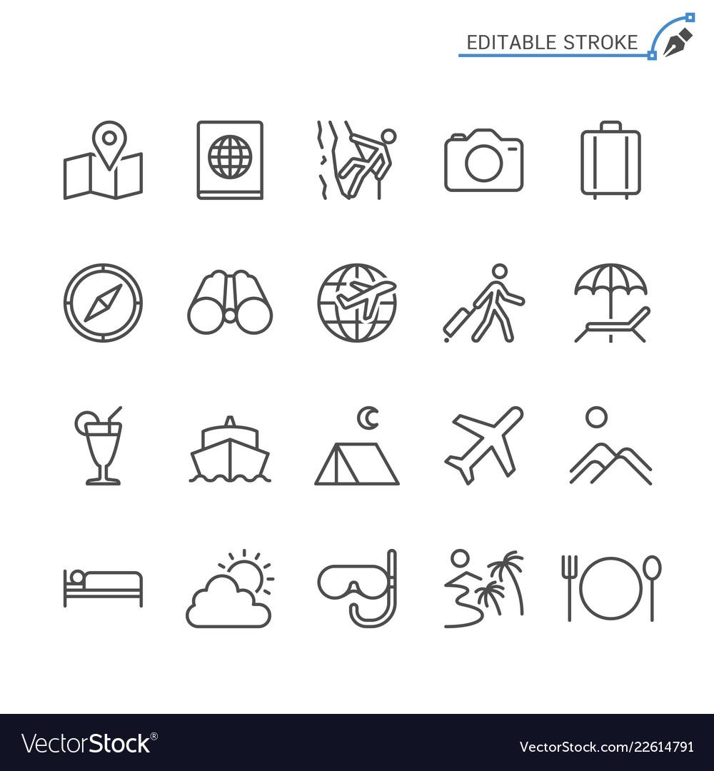 Traveling line icons editable stroke
