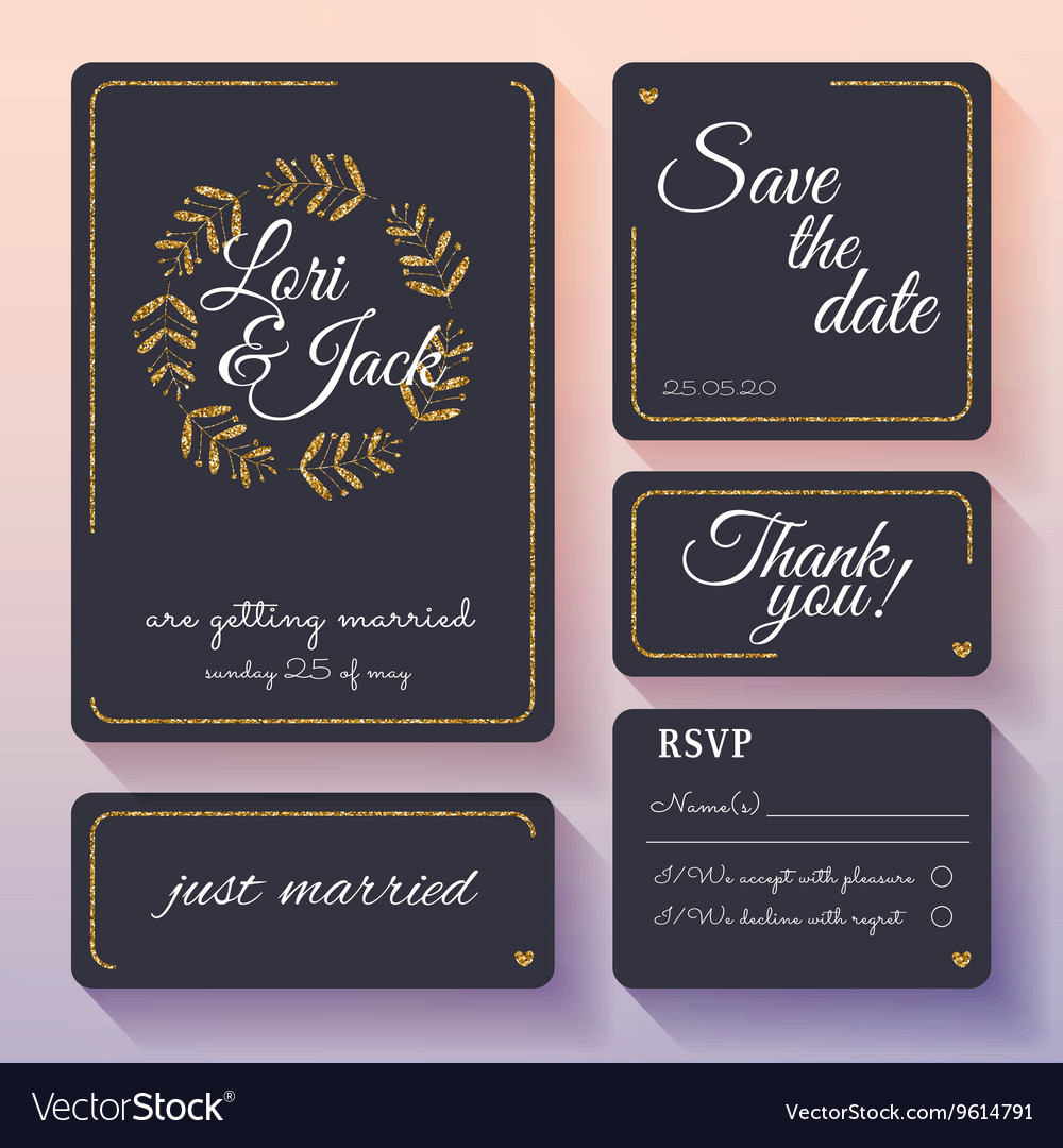 Wedding invitation card set with gold decor Thank vector image