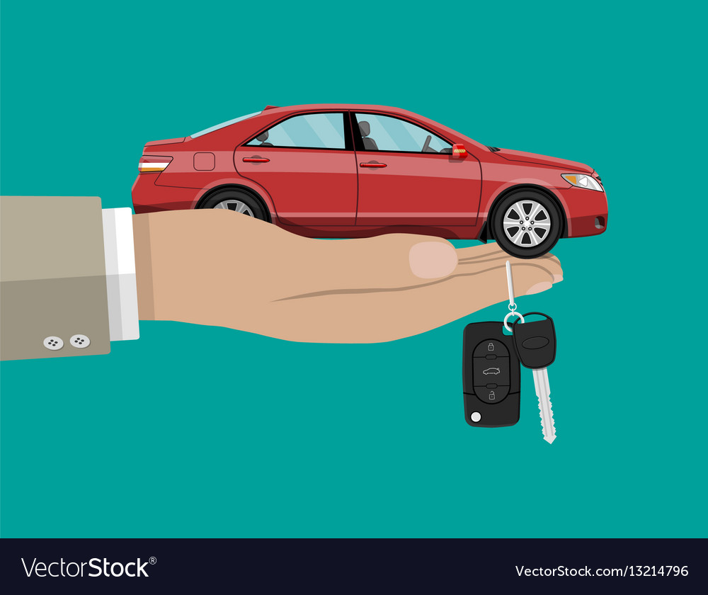 Hand With Red Car And Keys Royalty Free Vector Image