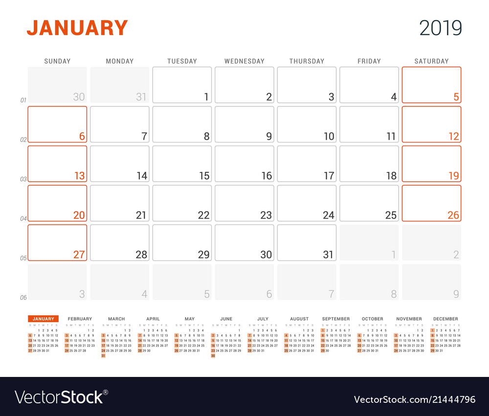 January 2019 Calendar Planner For 2019 Year Vector Image