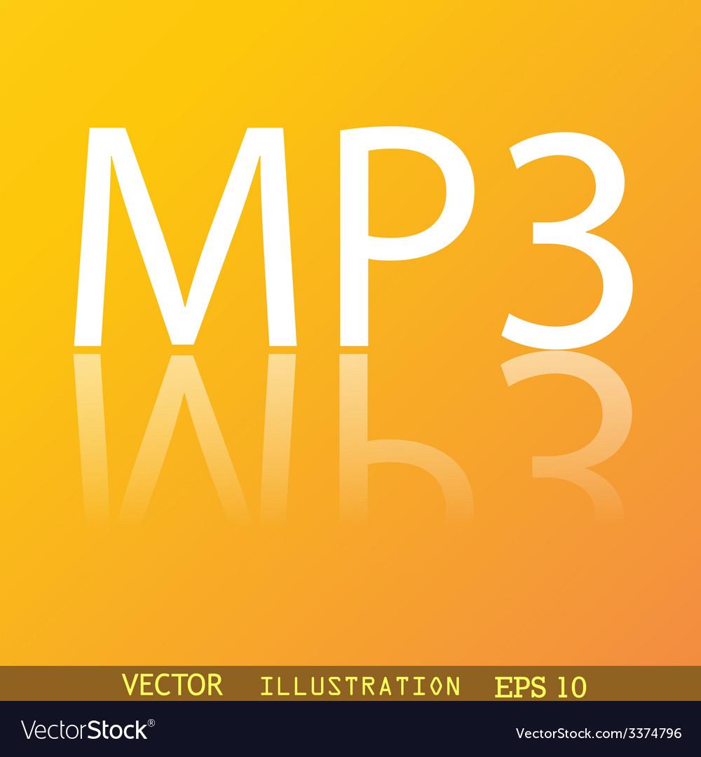 Mp3 music format icon symbol Flat modern web
