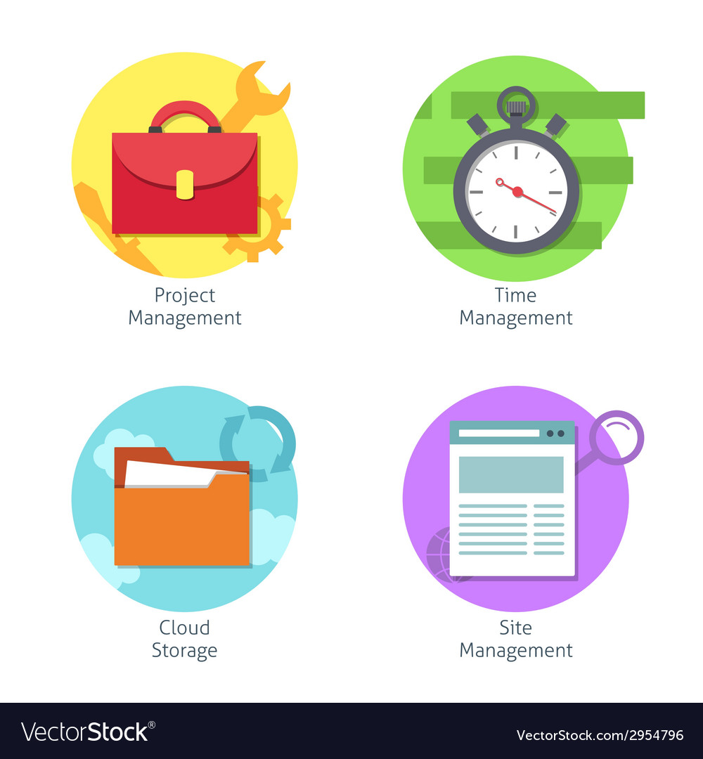 Office management icons set vector image