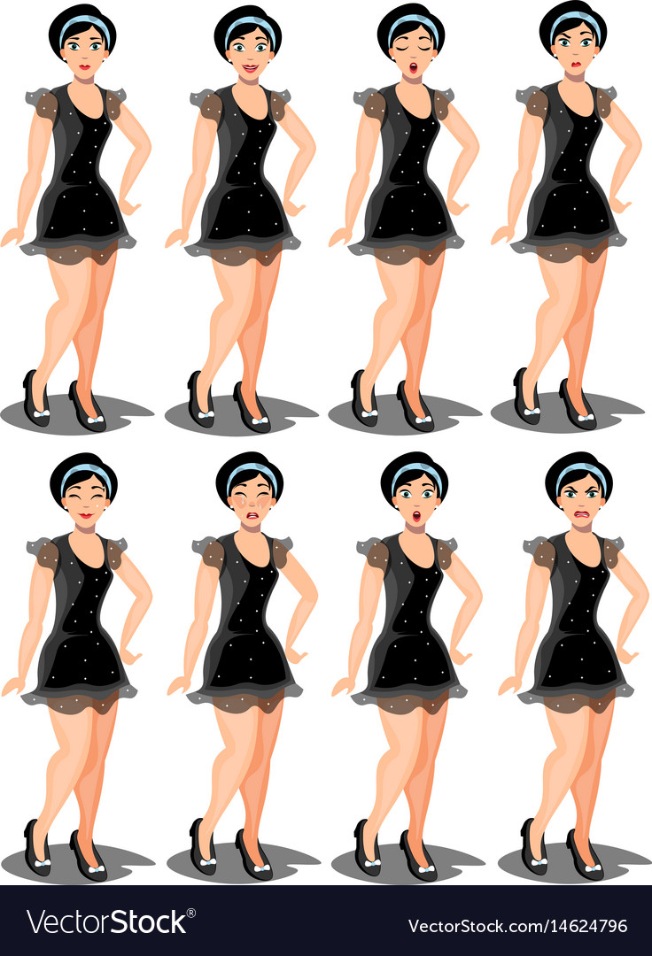 Set girl dressed in a dress with a variety of
