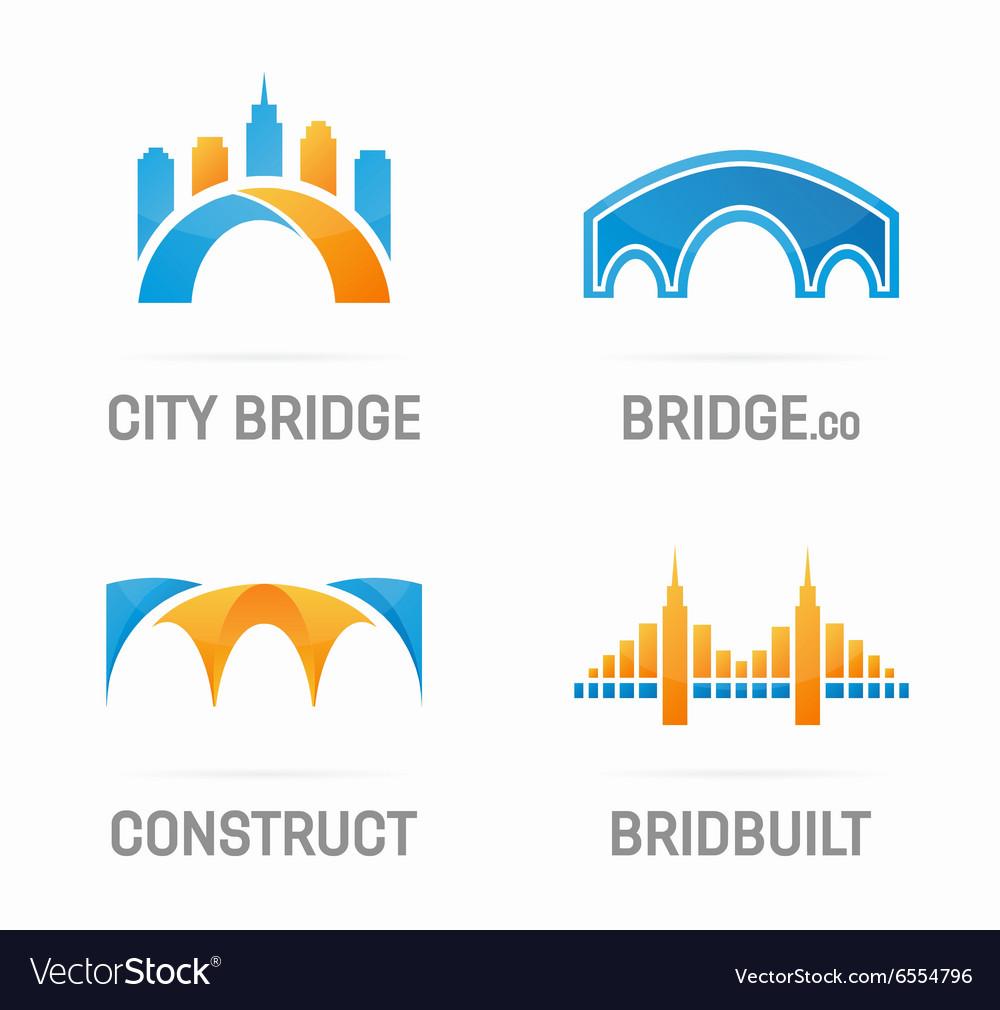Set of abstract bridge logo