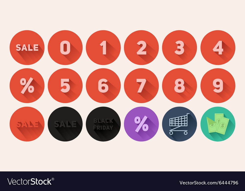 Set of flat icons Sale vector image