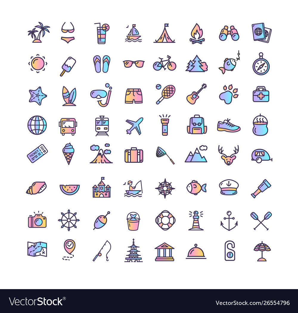 Summer holidays color thin line icon set