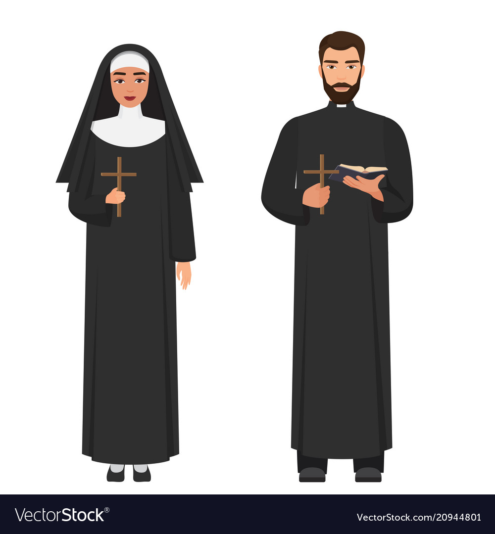 Catholic priest and nun holding cross rood