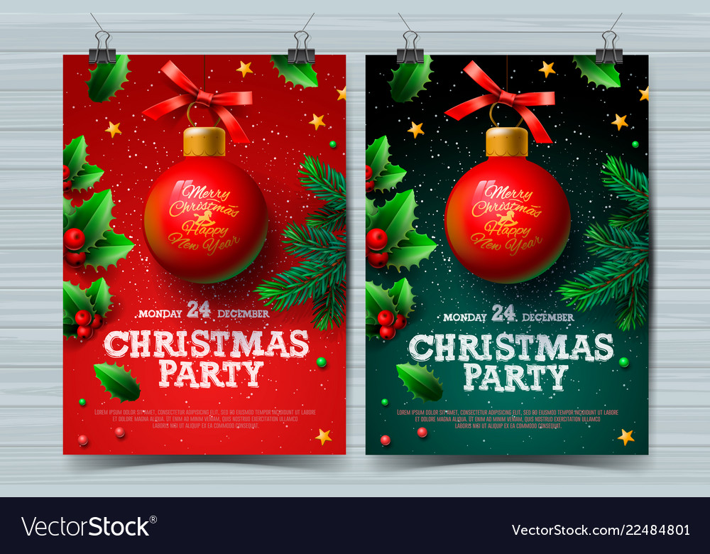 Christmas party design templates posters with