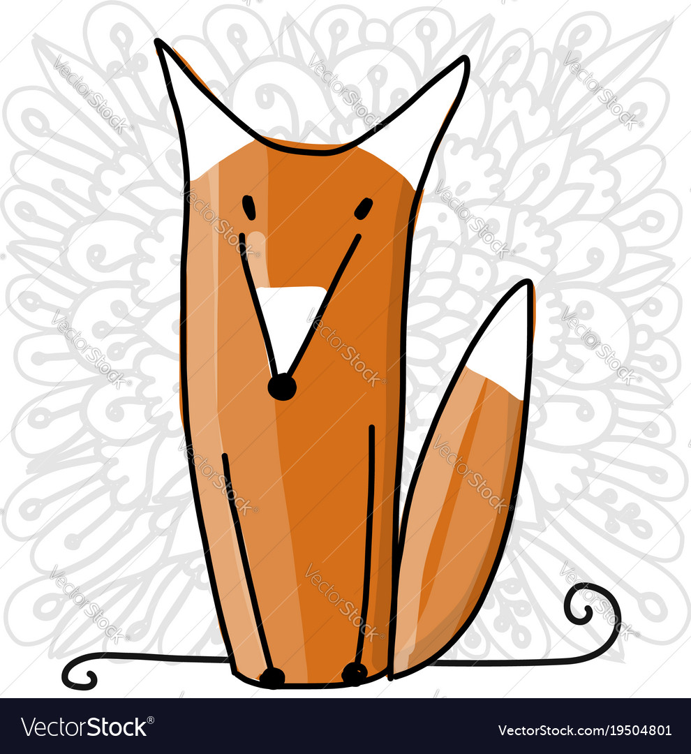Cute red fox sketch for your design