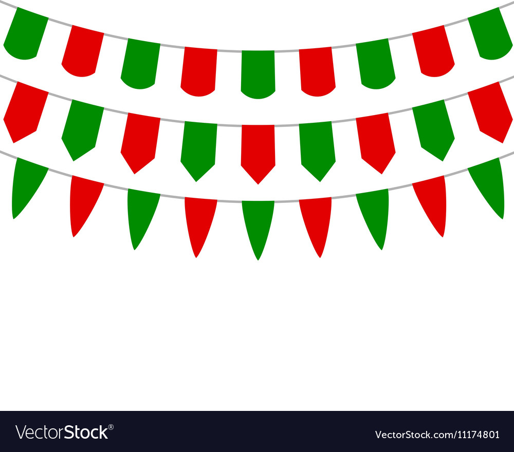 decorative flags on greeting christmas vector image - Decorative Christmas Flags