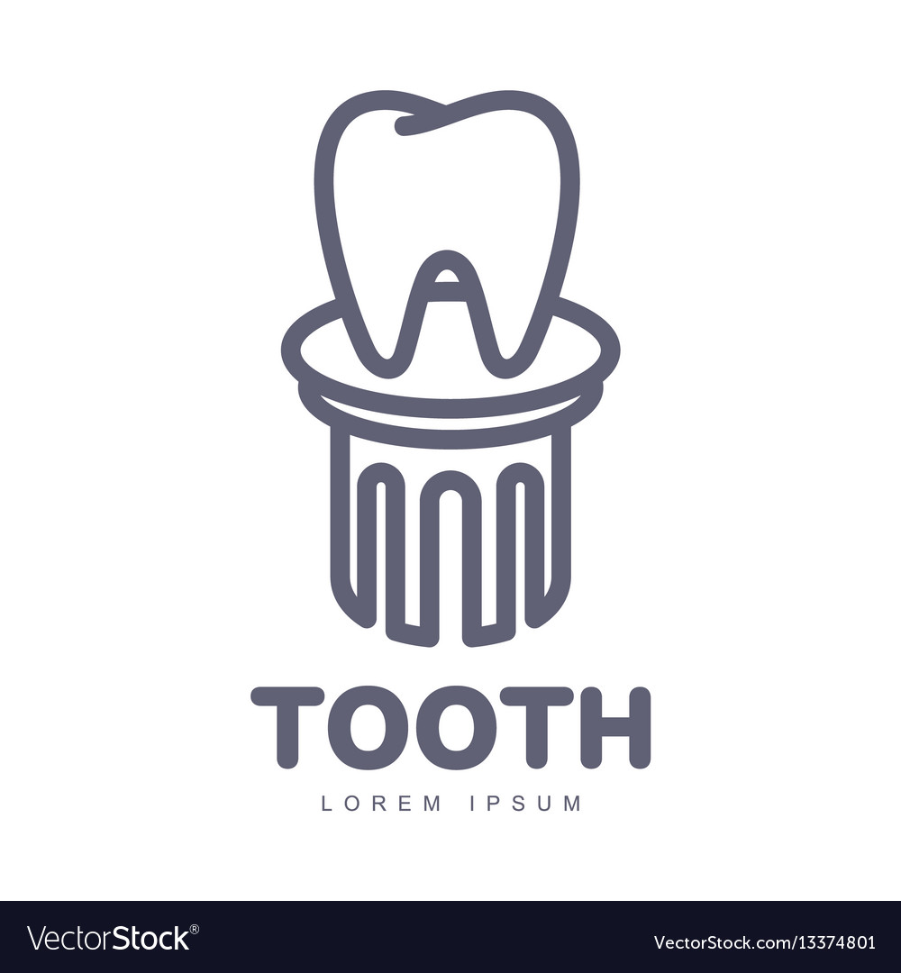 Dental care logo template with tooth standing on vector image maxwellsz