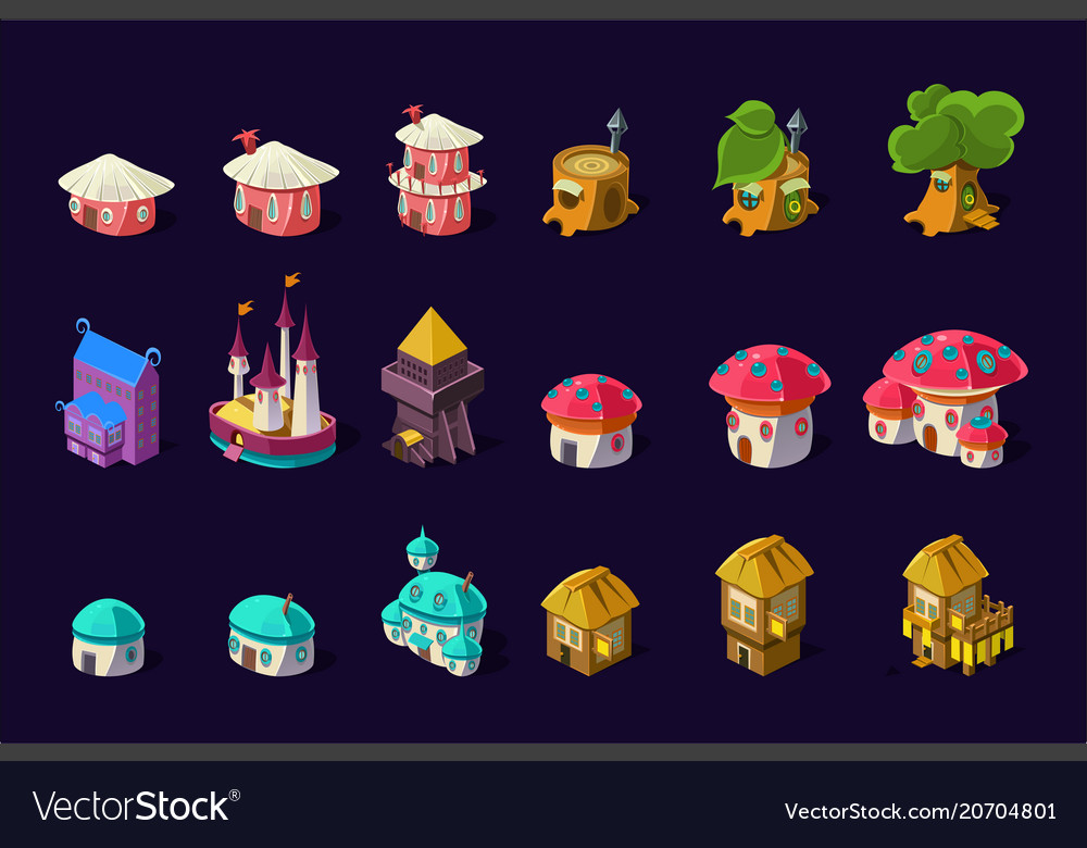 Flat set of colorful buildings for mobile